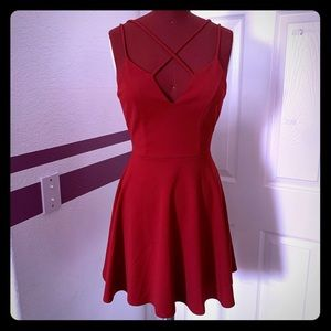 Strapped Red Flared Dress